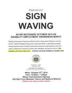2015_10_23 DISABILITY EMPLOYMENT AWARENESS SIGN WAVING